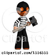 Orange Thief Man With Sledgehammer Standing Ready To Work Or Defend