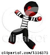 Red Thief Man Running Away In Hysterical Panic Direction Left