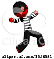 Red Thief Man Running Away In Hysterical Panic Direction Right