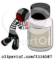 Red Thief Man Pushing Large Medicine Bottle