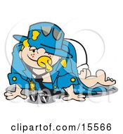 Cute Freckled Blond Haired Baby In A Diaper Crawling Around In His Dads Police Uniform While Sucking On A Pacifier Clipart Illustration