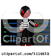 Red Thief Man With Server Racks In Front Of Two Networked Systems