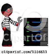 Red Thief Man Server Administrator Doing Repairs