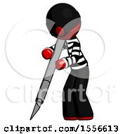 Red Thief Man Cutting With Large Scalpel