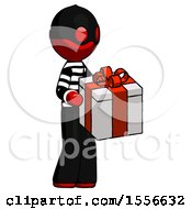 Red Thief Man Giving A Present