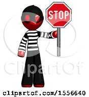 Red Thief Man Holding Stop Sign