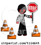 Red Thief Man Holding Stop Sign By Traffic Cones Under Construction Concept