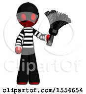 Red Thief Man Holding Feather Duster Facing Forward