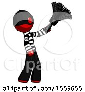 Red Thief Man Dusting With Feather Duster Upwards