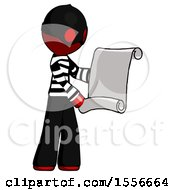 Red Thief Man Holding Blueprints Or Scroll