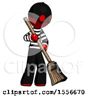 Red Thief Man Sweeping Area With Broom