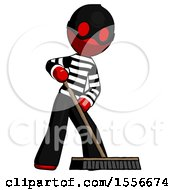 Red Thief Man Cleaning Services Janitor Sweeping Floor With Push Broom