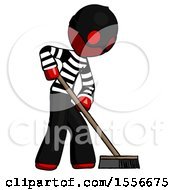 Red Thief Man Cleaning Services Janitor Sweeping Side View
