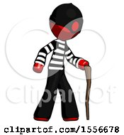 Red Thief Man Walking With Hiking Stick
