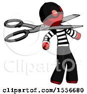 Red Thief Man Scissor Beheading Office Worker Execution