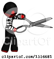 Red Thief Man Holding Giant Scissors Cutting Out Something
