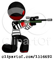 Red Thief Man Kneeling Shooting Sniper Rifle