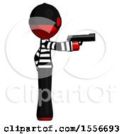 Red Thief Man Firing A Handgun
