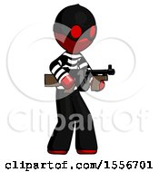 Red Thief Man Tommy Gun Gangster Shooting Pose