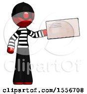 Red Thief Man Holding Large Envelope