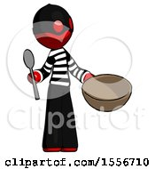 Red Thief Man With Empty Bowl And Spoon Ready To Make Something