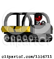 Red Thief Man Driving Amphibious Tracked Vehicle Side Angle View