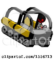 Red Thief Man Driving Amphibious Tracked Vehicle Top Angle View