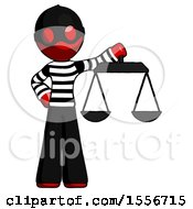 Red Thief Man Holding Scales Of Justice