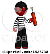Red Thief Man Holding Dynamite With Fuse Lit