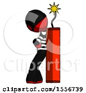 Red Thief Man Leaning Against Dynimate Large Stick Ready To Blow