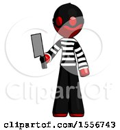 Red Thief Man Holding Meat Cleaver