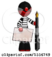 Red Thief Man Holding Large Envelope And Calligraphy Pen