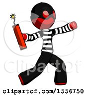 Red Thief Man Throwing Dynamite