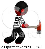 Red Thief Man With Ax Hitting Striking Or Chopping