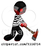 Red Thief Man Striking With A Red Firefighters Ax