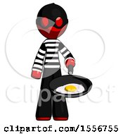 Poster, Art Print Of Red Thief Man Frying Egg In Pan Or Wok