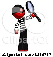 Red Thief Man Inspecting With Large Magnifying Glass Facing Up