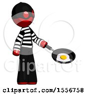 Poster, Art Print Of Red Thief Man Frying Egg In Pan Or Wok Facing Right