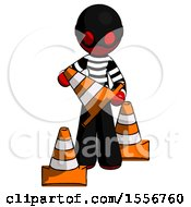 Red Thief Man Holding A Traffic Cone