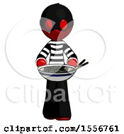 Red Thief Man Serving Or Presenting Noodles