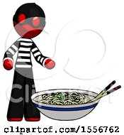 Red Thief Man And Noodle Bowl Giant Soup Restaraunt Concept