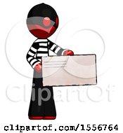 Red Thief Man Presenting Large Envelope