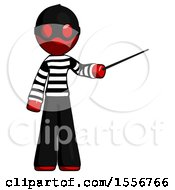 Red Thief Man Teacher Or Conductor With Stick Or Baton Directing