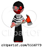 Red Thief Man Holding Red Fire Fighters Ax