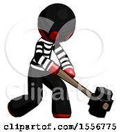 Red Thief Man Hitting With Sledgehammer Or Smashing Something At Angle