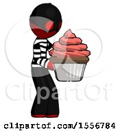 Red Thief Man Holding Large Cupcake Ready To Eat Or Serve