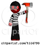 Red Thief Man Holding Up Red Firefighters Ax