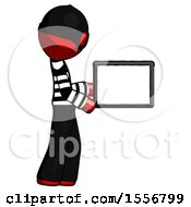 Red Thief Man Show Tablet Device Computer To Viewer Blank Area