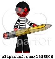 Red Thief Man Writer Or Blogger Holding Large Pencil