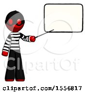 Red Thief Man Giving Presentation In Front Of Dry Erase Board